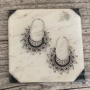 Aida Silver Boho Hoop Earrings